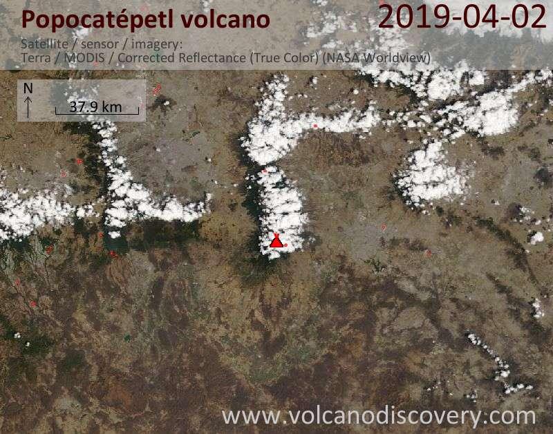 Satellitenbild des Popocatépetl Vulkans am  2 Apr 2019