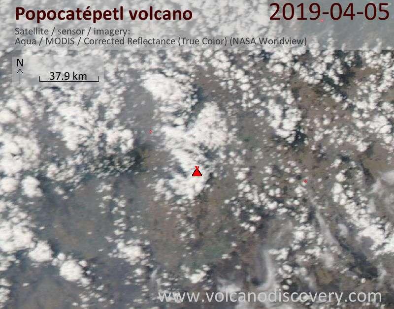 Спутниковое изображение вулкана Popocatépetl  6 Apr 2019