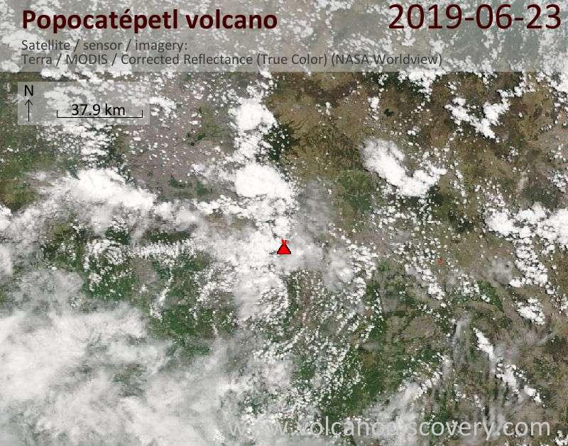 Спутниковое изображение вулкана Popocatépetl 23 Jun 2019