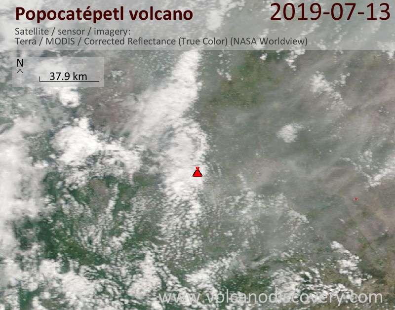 Satellite image of Popocatépetl volcano on 13 Jul 2019