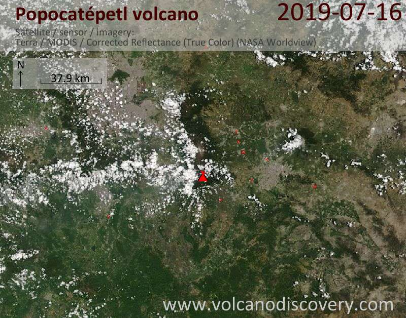 Satellite image of Popocatépetl volcano on 17 Jul 2019