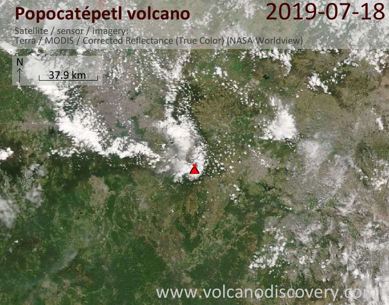 Satellite image of Popocatépetl volcano on 18 Jul 2019