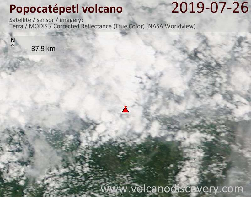 Satellitenbild des Popocatépetl Vulkans am 26 Jul 2019