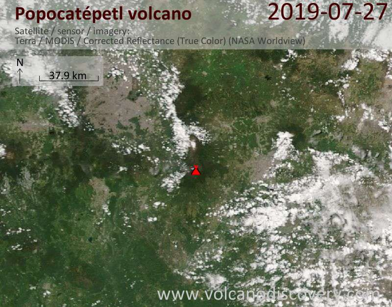 Satellitenbild des Popocatépetl Vulkans am 27 Jul 2019