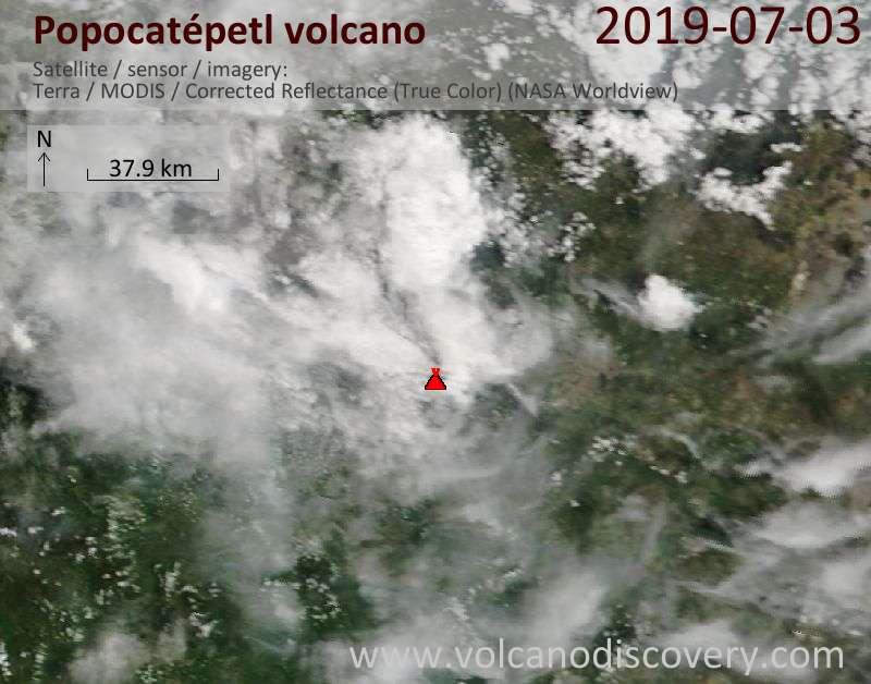 Satellite image of Popocatépetl volcano on  3 Jul 2019
