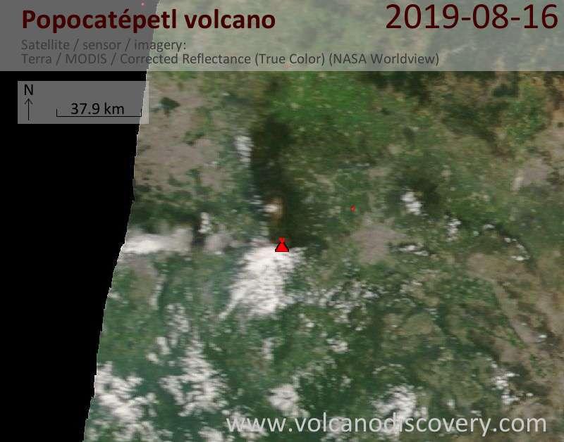 Спутниковое изображение вулкана Popocatépetl 17 Aug 2019