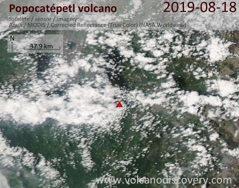 Satellite image of Popocatépetl volcano on 19 Aug 2019