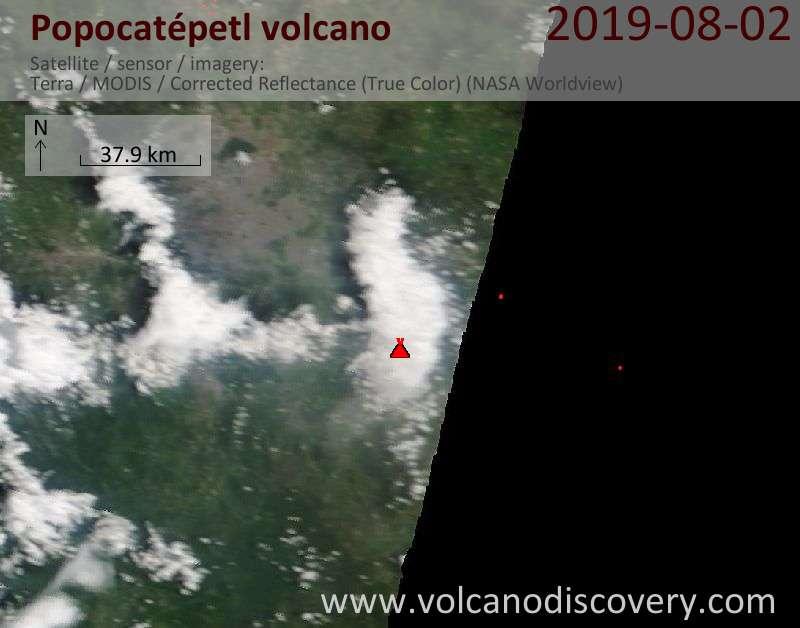 Satellitenbild des Popocatépetl Vulkans am  2 Aug 2019