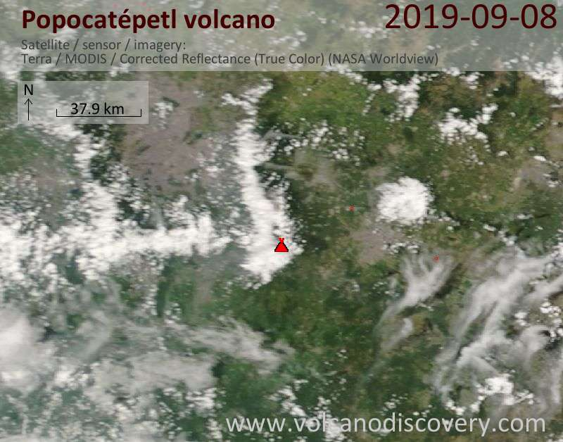 Satellite image of Popocatépetl volcano on  8 Sep 2019