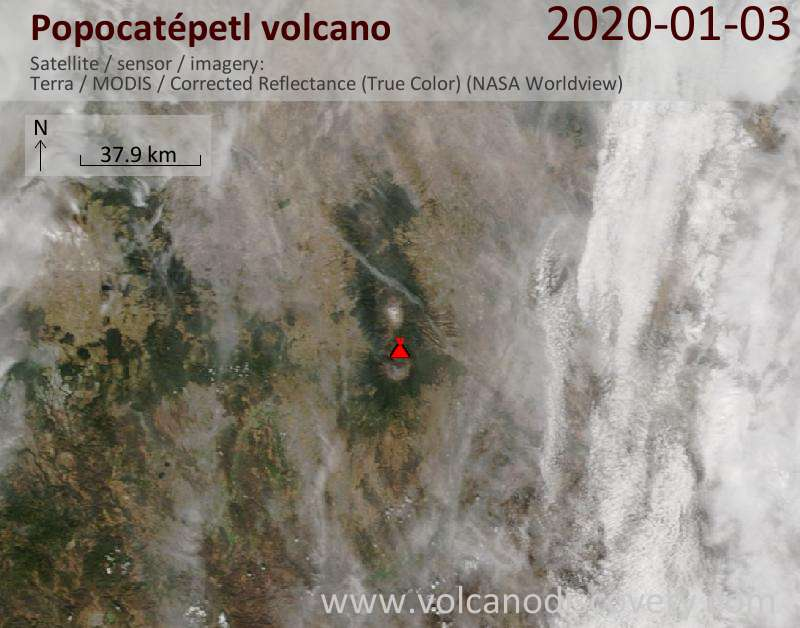 Satellite image of Popocatépetl volcano on  3 Jan 2020