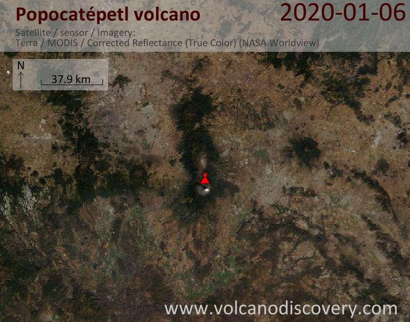 Satellite image of Popocatépetl volcano on  6 Jan 2020
