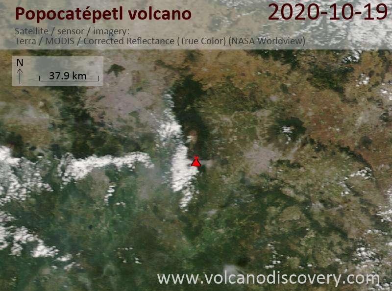 Satellite image of Popocatépetl volcano on 19 Oct 2020