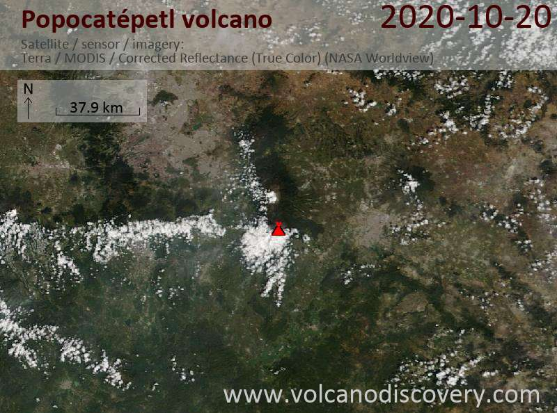 Satellite image of Popocatépetl volcano on 20 Oct 2020