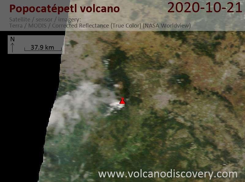 Спутниковое изображение вулкана Popocatépetl 21 Oct 2020