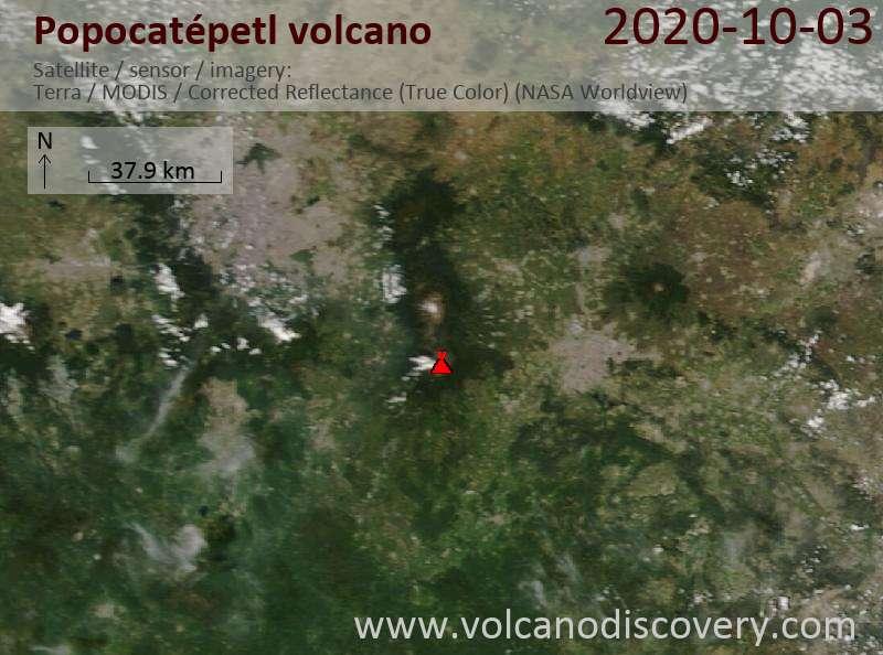 Satellitenbild des Popocatépetl Vulkans am  3 Oct 2020