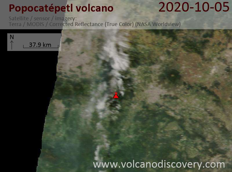 Satellitenbild des Popocatépetl Vulkans am  5 Oct 2020
