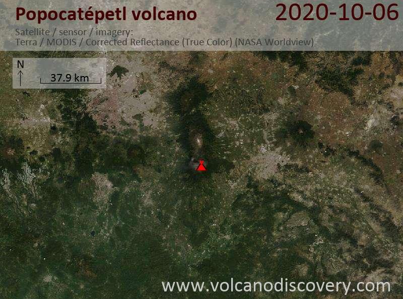 Спутниковое изображение вулкана Popocatépetl  6 Oct 2020