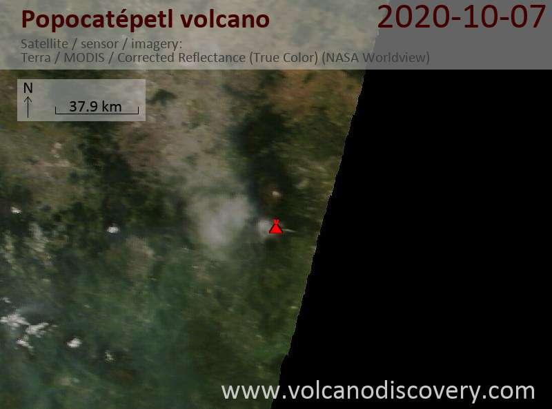 Спутниковое изображение вулкана Popocatépetl  7 Oct 2020