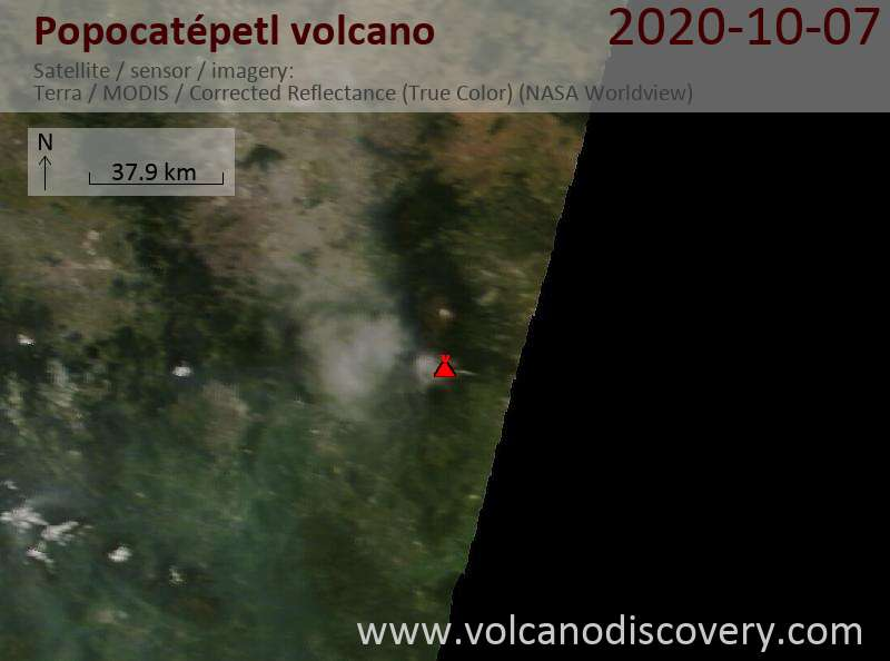 Satellite image of Popocatépetl volcano on  7 Oct 2020