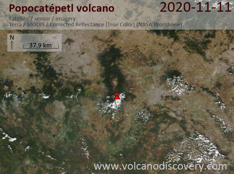 Satellite image of Popocatépetl volcano on 11 Nov 2020