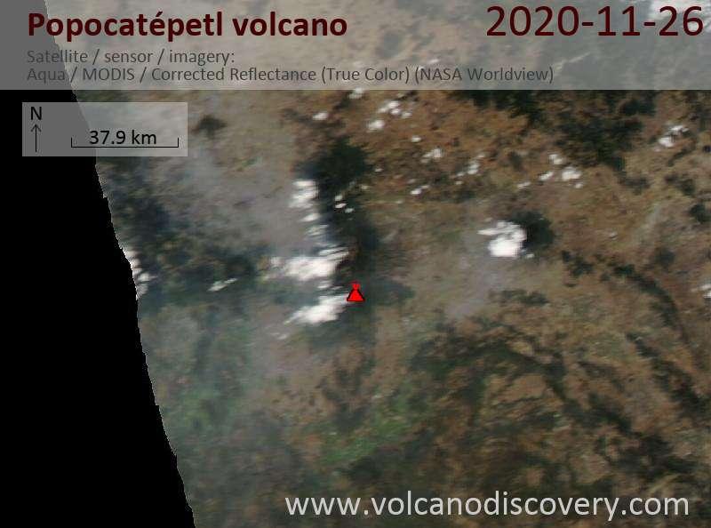Satellite image of Popocatépetl volcano on 27 Nov 2020