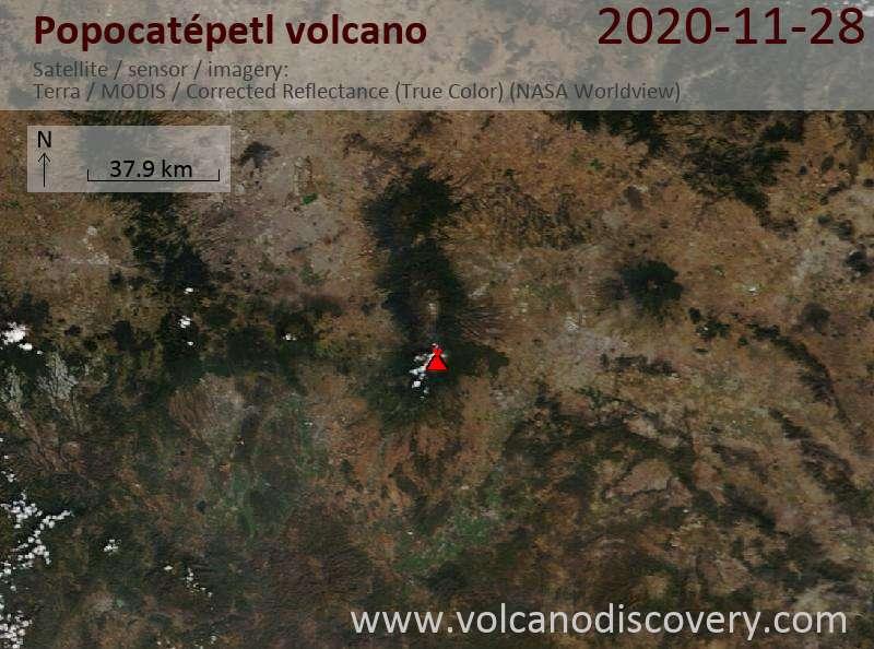 Satellite image of Popocatépetl volcano on 29 Nov 2020