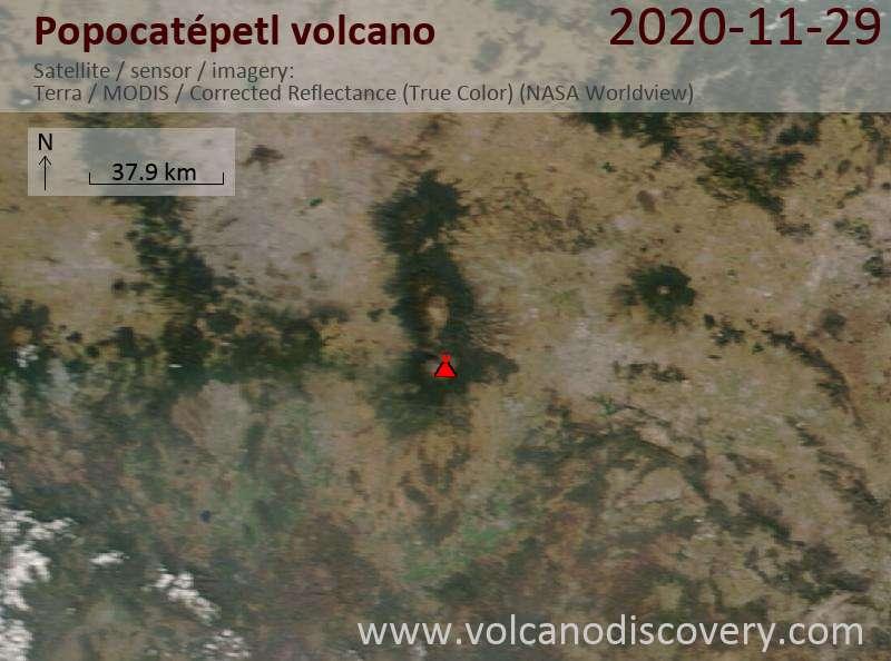 Satellite image of Popocatépetl volcano on 30 Nov 2020