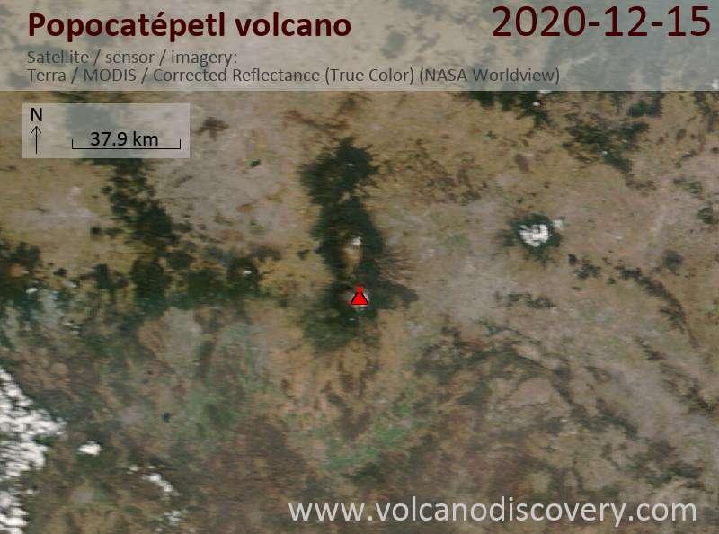 Satellite image of Popocatépetl volcano on 15 Dec 2020
