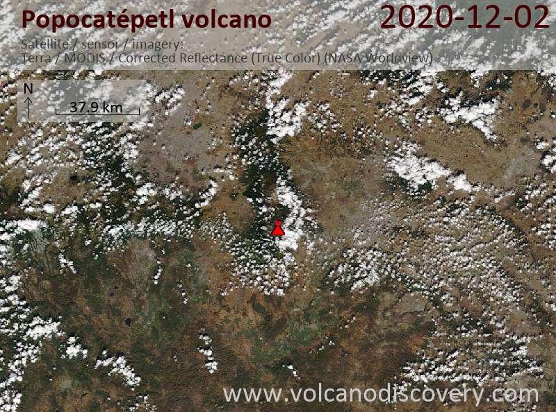 Satellite image of Popocatépetl volcano on  2 Dec 2020