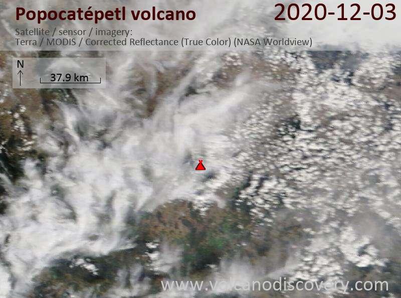 Satellite image of Popocatépetl volcano on  3 Dec 2020