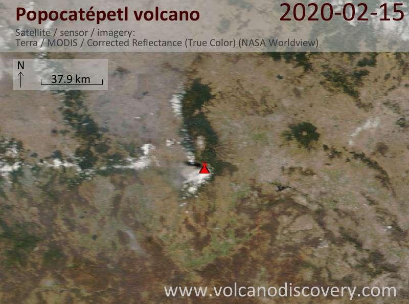 Satellite image of Popocatépetl volcano on 15 Feb 2020