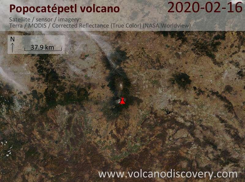 Satellite image of Popocatépetl volcano on 16 Feb 2020