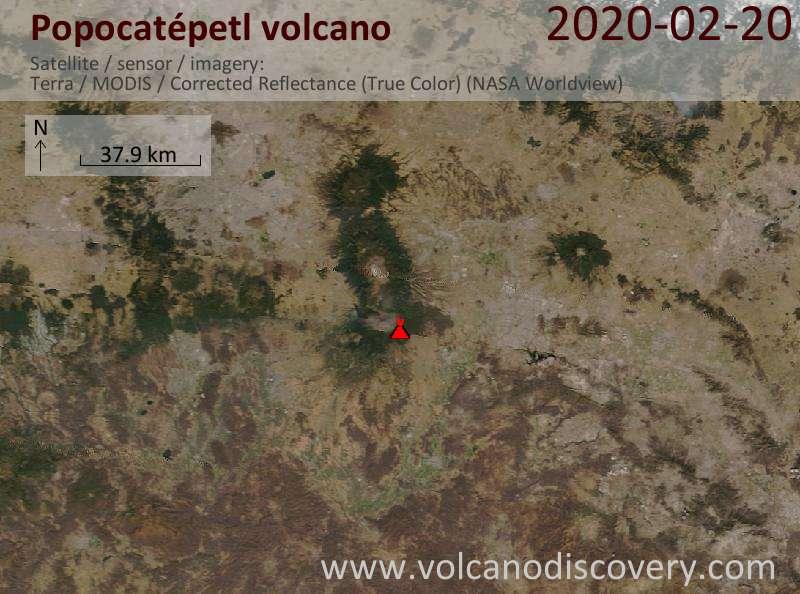 Satellite image of Popocatépetl volcano on 20 Feb 2020