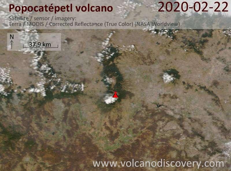 Satellite image of Popocatépetl volcano on 22 Feb 2020