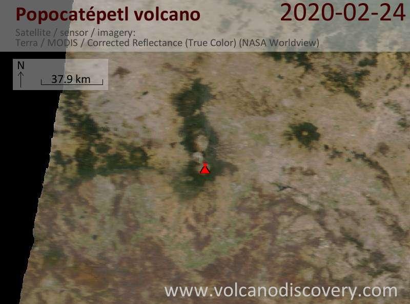 Satellite image of Popocatépetl volcano on 24 Feb 2020