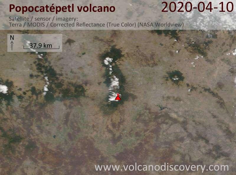 Satellite image of Popocatépetl volcano on 11 Apr 2020
