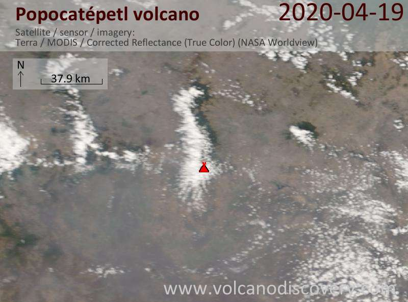 Satellitenbild des Popocatépetl Vulkans am 19 Apr 2020