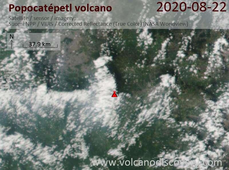 Satellitenbild des Popocatépetl Vulkans am 23 Aug 2020