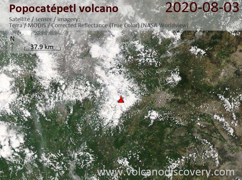 Satellite image of Popocatépetl volcano on  3 Aug 2020