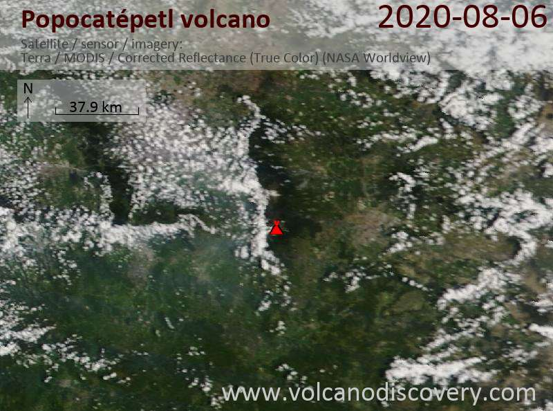 Satellitenbild des Popocatépetl Vulkans am  6 Aug 2020