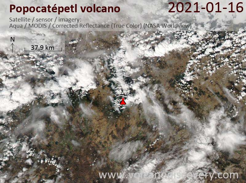Satellite image of Popocatépetl volcano on 16 Jan 2021