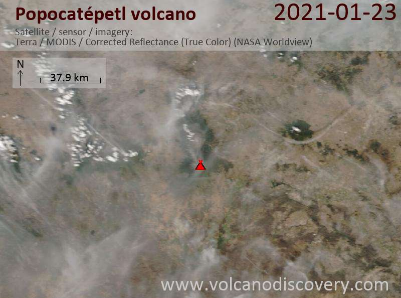 Satellite image of Popocatépetl volcano on 23 Jan 2021