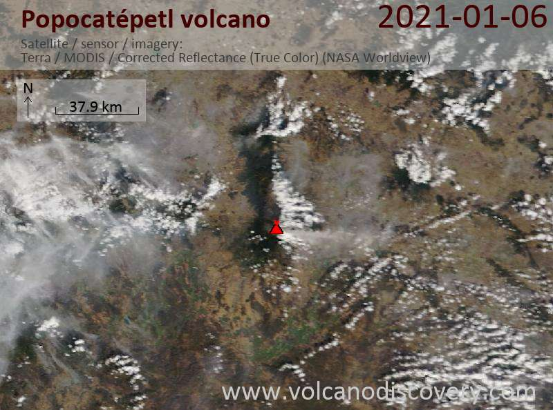 Satellite image of Popocatépetl volcano on  6 Jan 2021