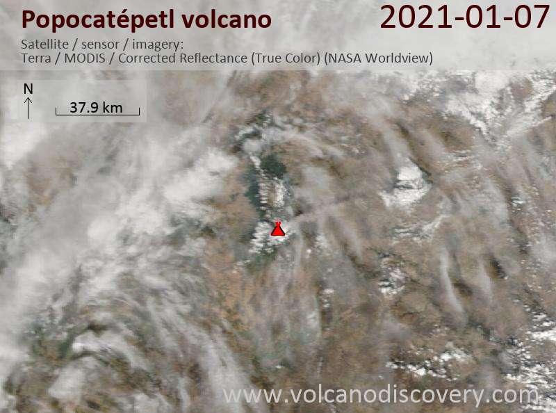 Satellite image of Popocatépetl volcano on  7 Jan 2021