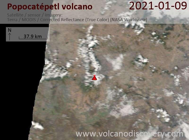 Satellite image of Popocatépetl volcano on  9 Jan 2021