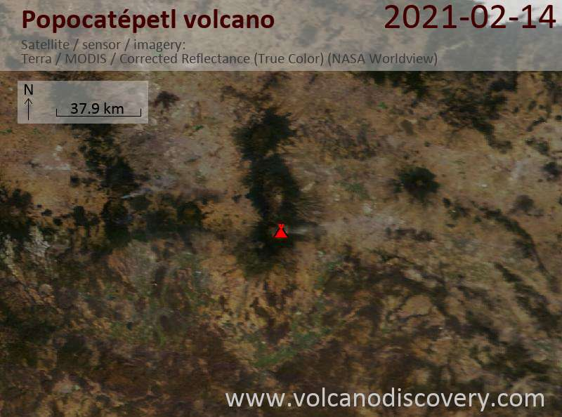 Satellite image of Popocatépetl volcano on 15 Feb 2021