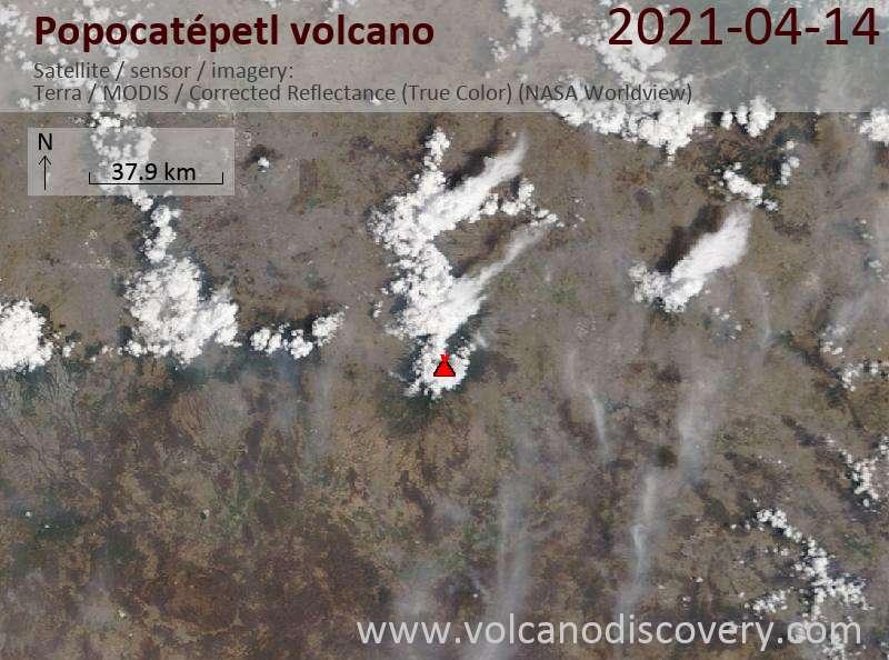 Satellite image of Popocatépetl volcano on 15 Apr 2021