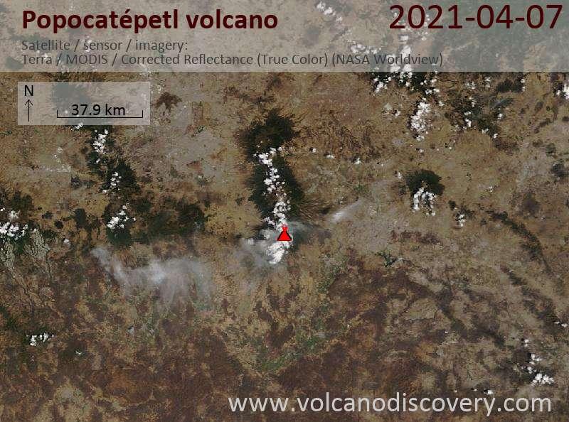 Satellite image of Popocatépetl volcano on  7 Apr 2021