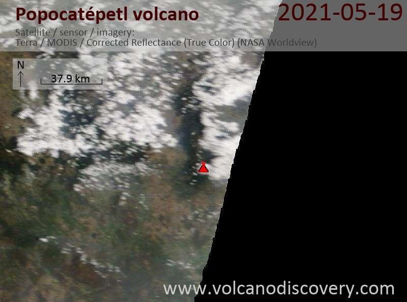 Satellite image of Popocatépetl volcano on 20 May 2021