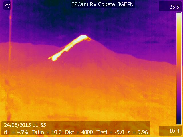 Thermal image of the lava flow at Reventador this morning